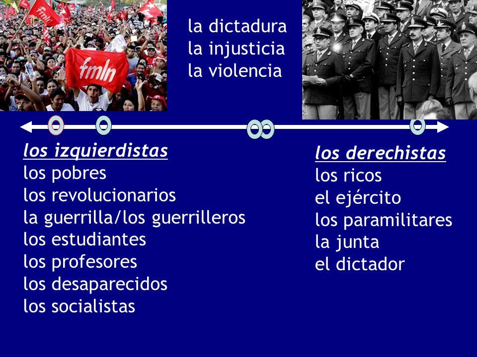 la dictadura la injusticia. la violencia. los izquierdistas. los pobres. los revolucionarios. la guerrilla/los guerrilleros.