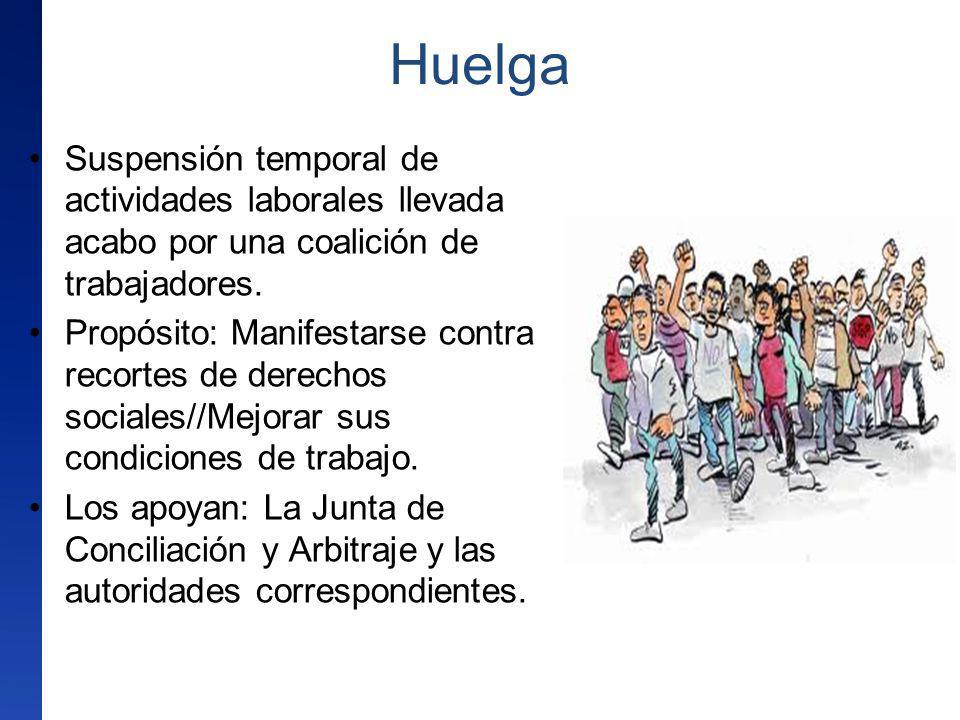 Huelga Suspensión temporal de actividades laborales llevada acabo por una coalición de trabajadores.