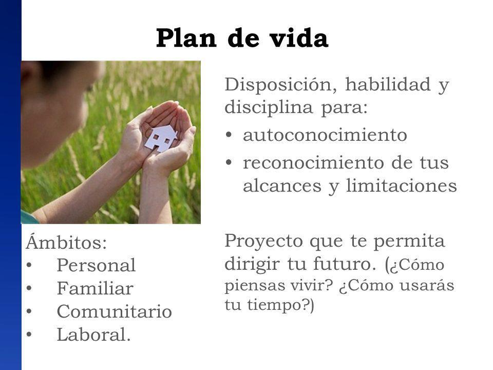 Plan de vida Disposición, habilidad y disciplina para: