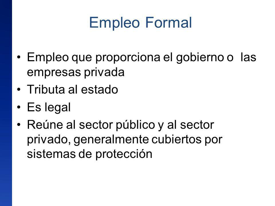 Empleo Formal Empleo que proporciona el gobierno o las empresas privada. Tributa al estado. Es legal.