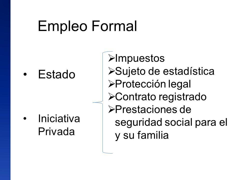 Empleo Formal Estado Impuestos Sujeto de estadística Protección legal