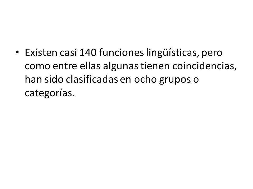 Existen casi 140 funciones lingüísticas, pero como entre ellas algunas tienen coincidencias, han sido clasificadas en ocho grupos o categorías.