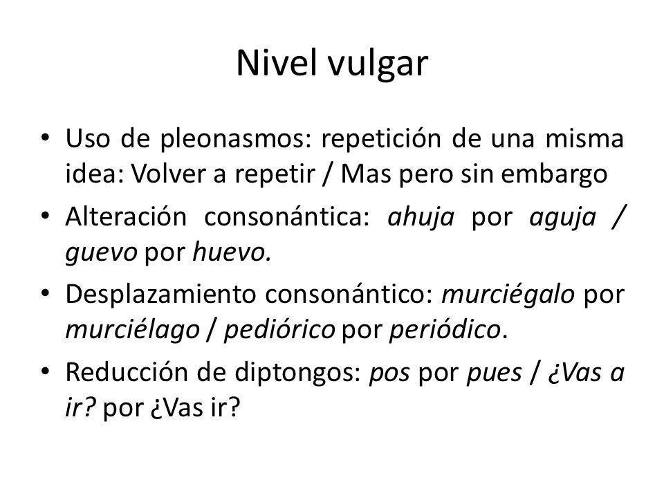 Nivel vulgar Uso de pleonasmos: repetición de una misma idea: Volver a repetir / Mas pero sin embargo.