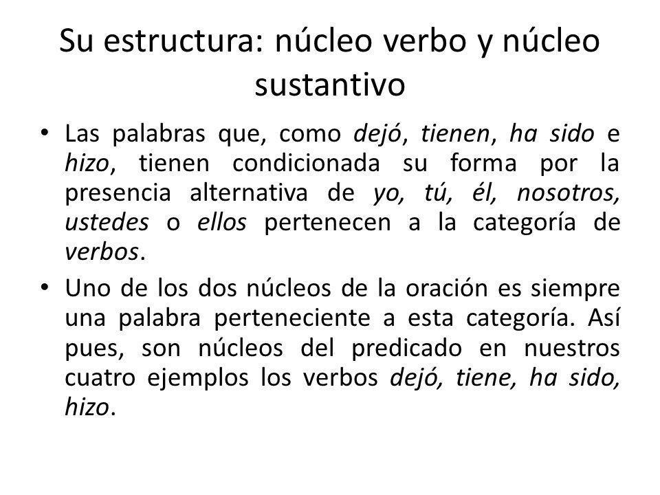 Su estructura: núcleo verbo y núcleo sustantivo