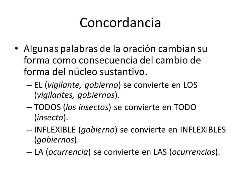 Concordancia Algunas palabras de la oración cambian su forma como consecuencia del cambio de forma del núcleo sustantivo.