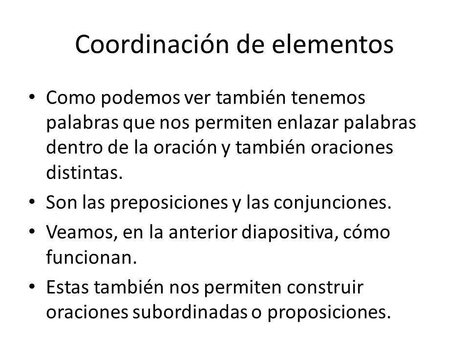 Coordinación de elementos