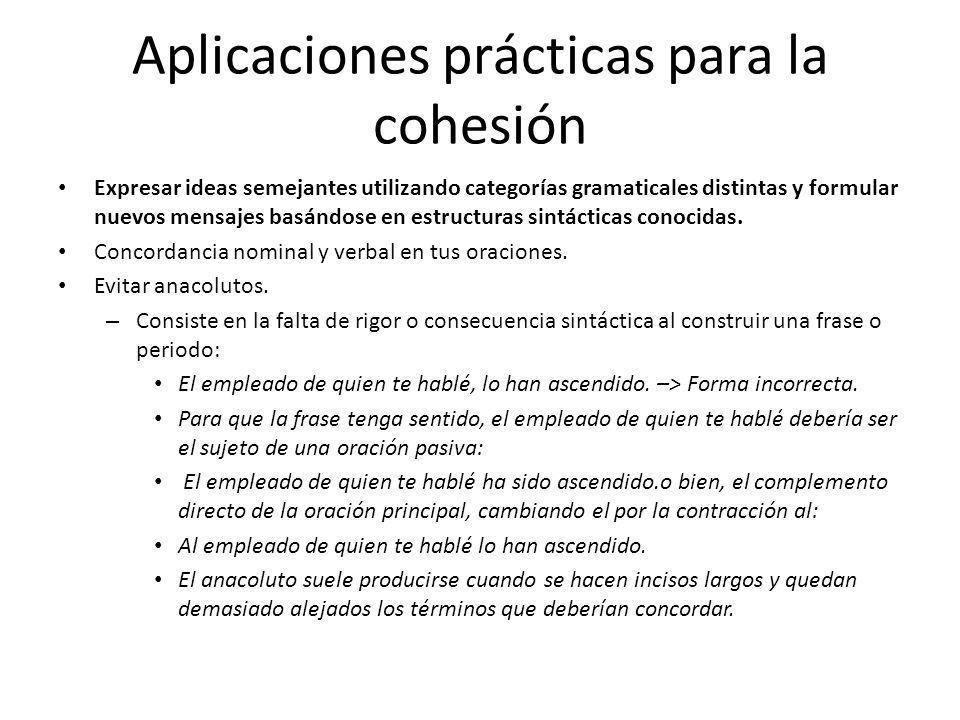 Aplicaciones prácticas para la cohesión