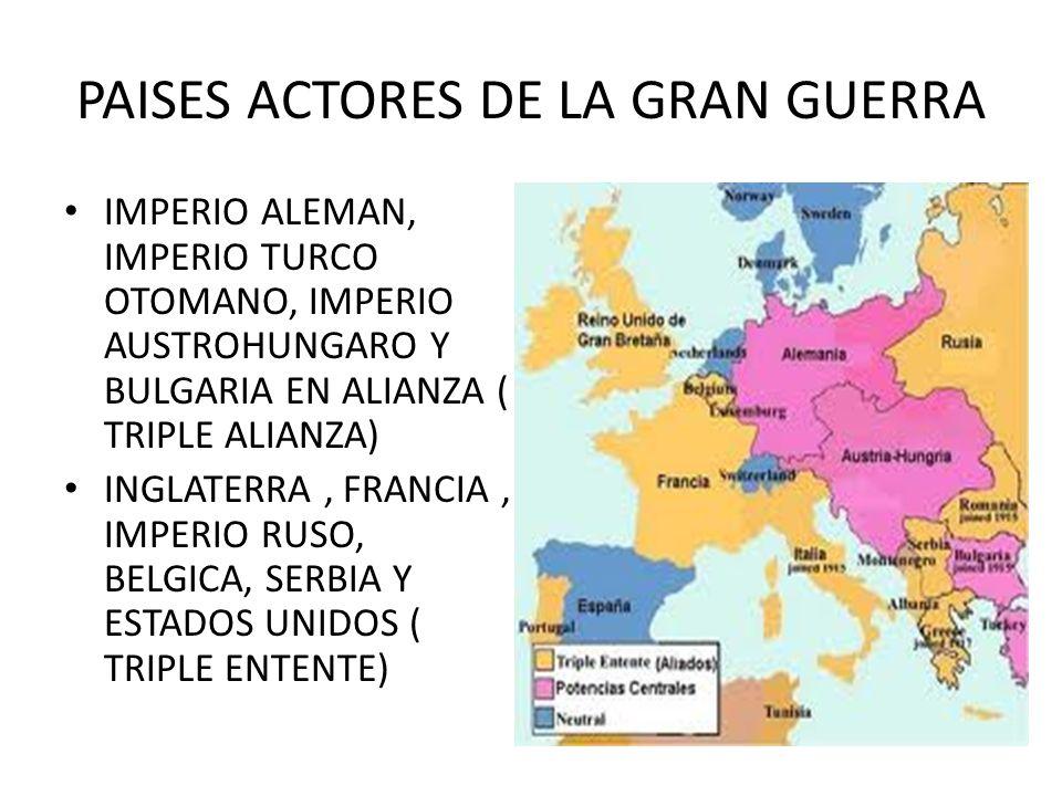 PAISES ACTORES DE LA GRAN GUERRA