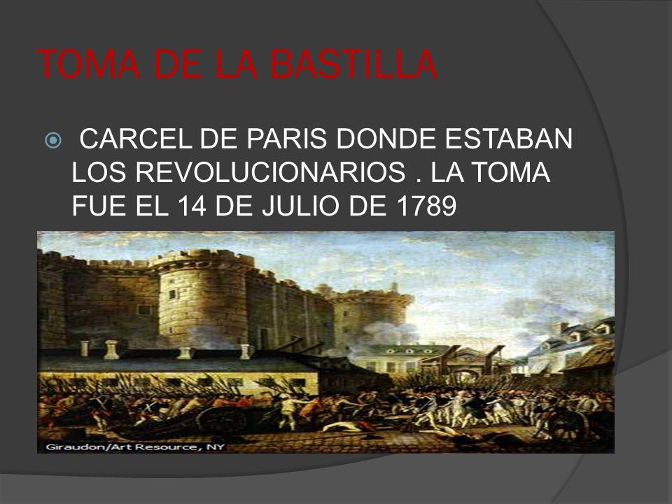 TOMA DE LA BASTILLA CARCEL DE PARIS DONDE ESTABAN LOS REVOLUCIONARIOS .