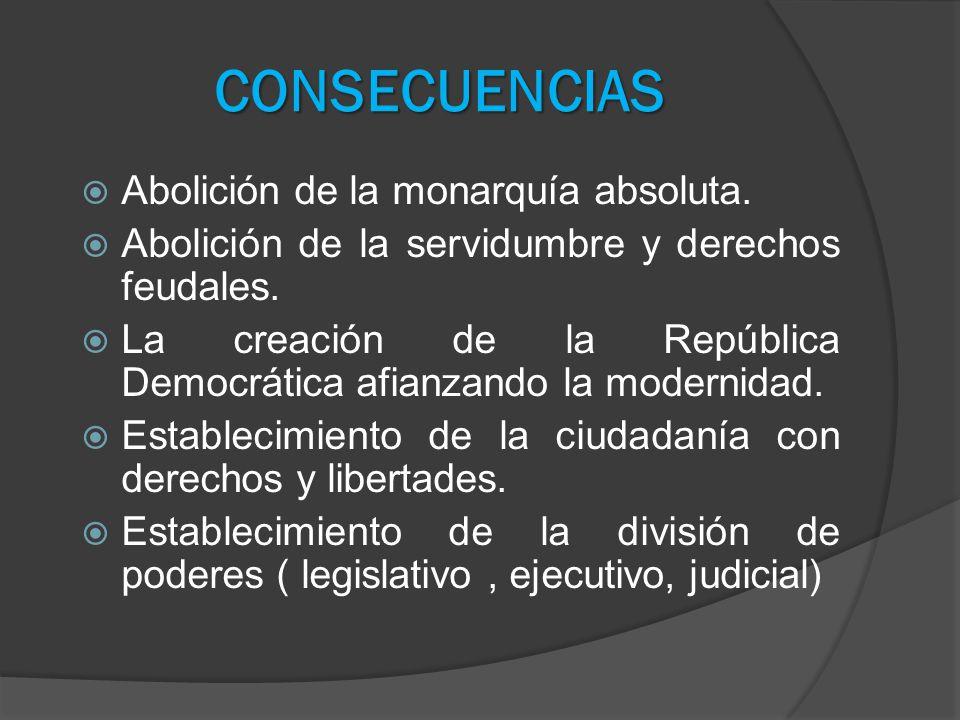 CONSECUENCIAS Abolición de la monarquía absoluta.