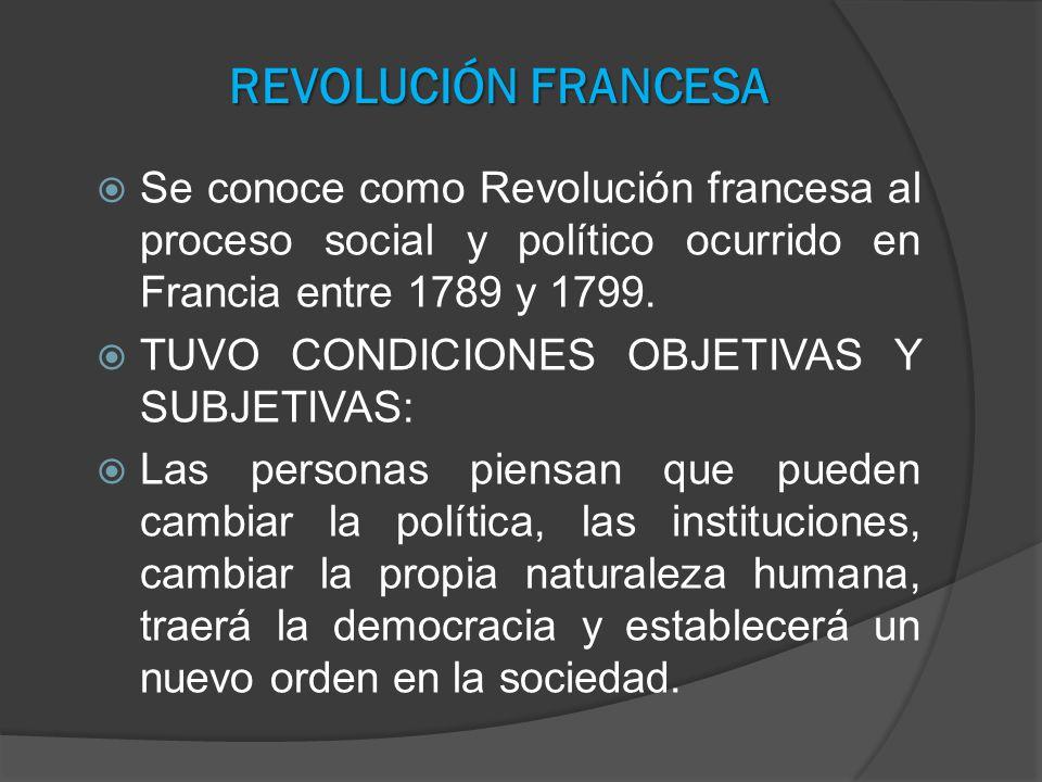 REVOLUCIÓN FRANCESA Se conoce como Revolución francesa al proceso social y político ocurrido en Francia entre 1789 y 1799.