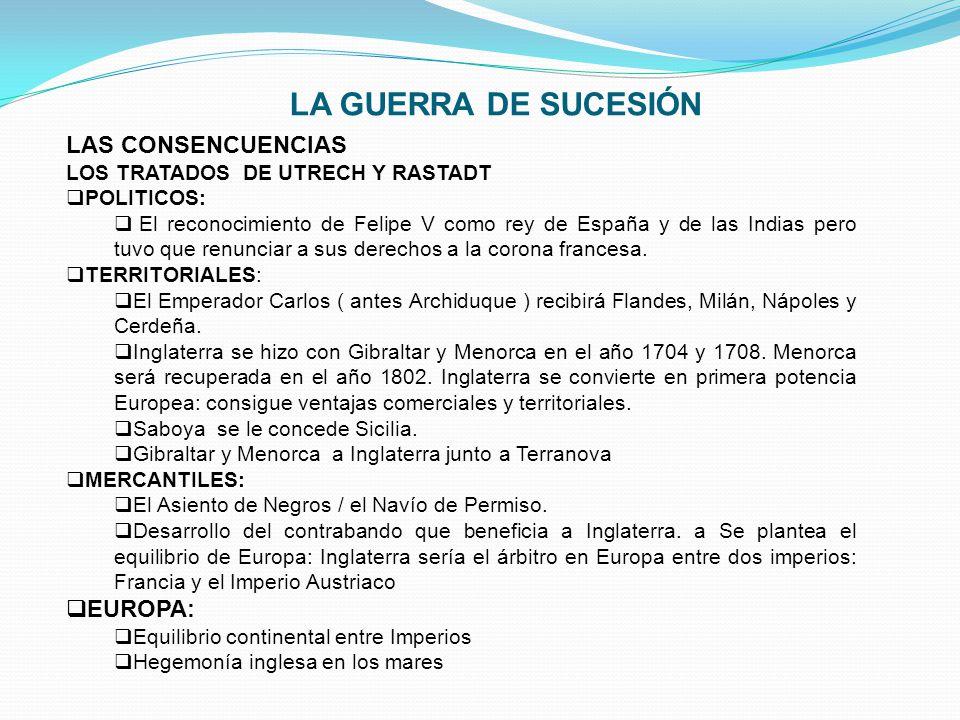 LA GUERRA DE SUCESIÓN LAS CONSENCUENCIAS EUROPA: