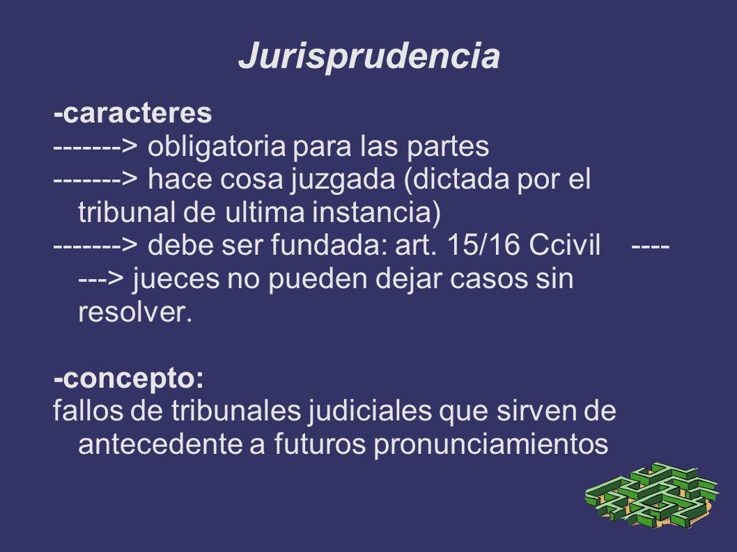 Jurisprudencia -caracteres -------> obligatoria para las partes