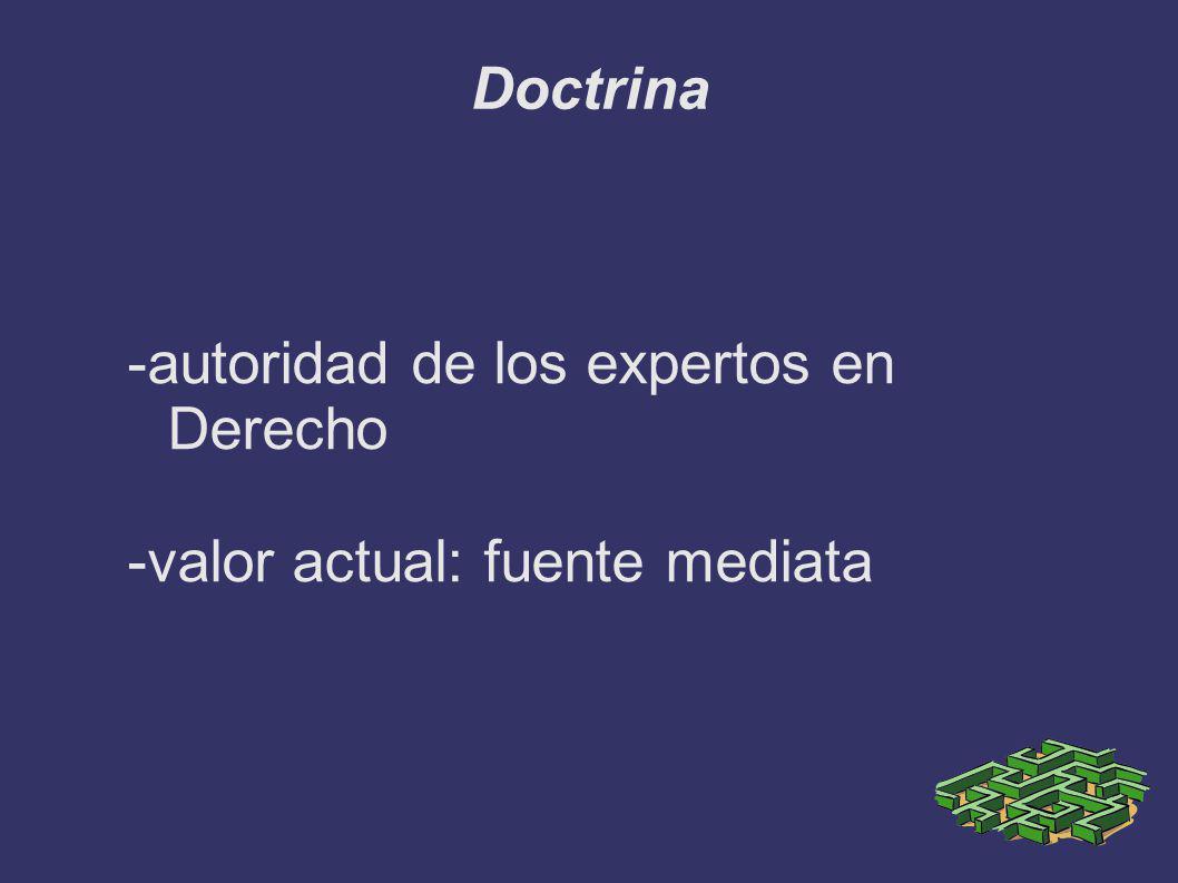 Doctrina -autoridad de los expertos en Derecho -valor actual: fuente mediata
