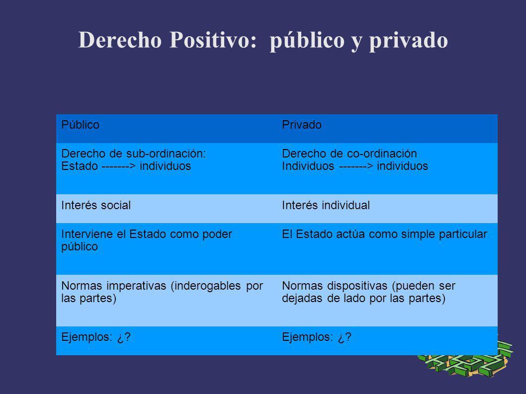 Derecho Positivo: público y privado