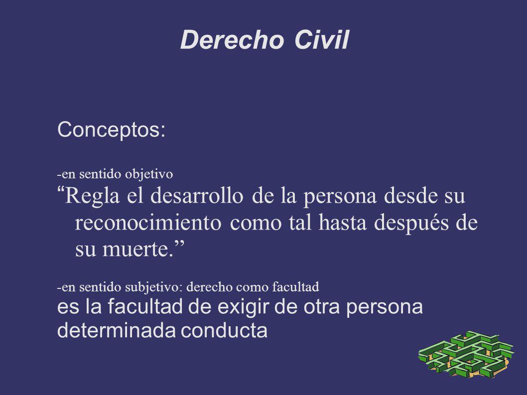 Derecho Civil Conceptos: -en sentido objetivo. Regla el desarrollo de la persona desde su reconocimiento como tal hasta después de su muerte.