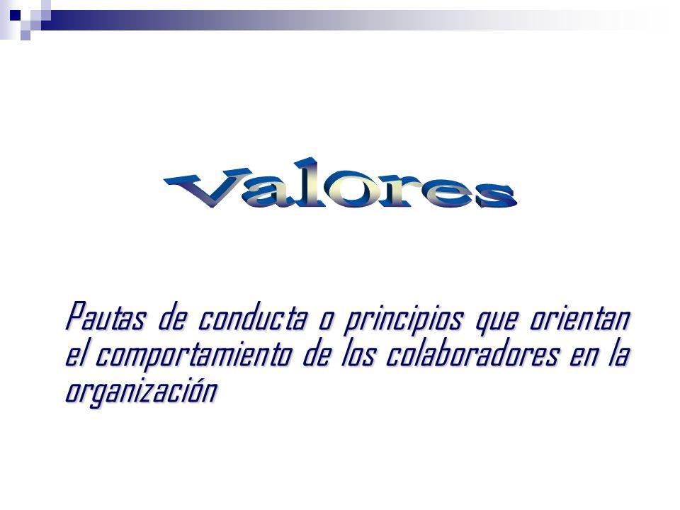 Valores Pautas de conducta o principios que orientan el comportamiento de los colaboradores en la organización.