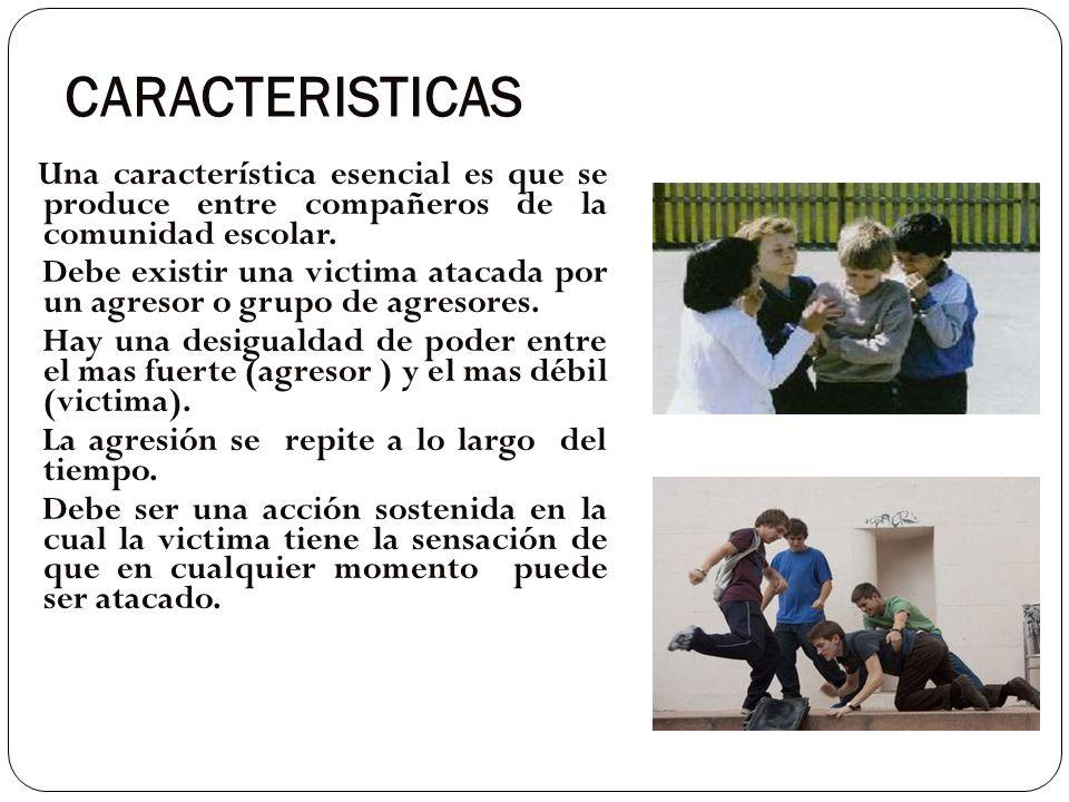 CARACTERISTICAS Una característica esencial es que se produce entre compañeros de la comunidad escolar.