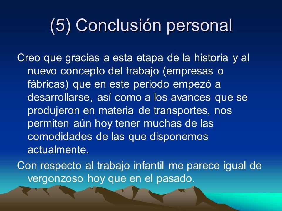 (5) Conclusión personal