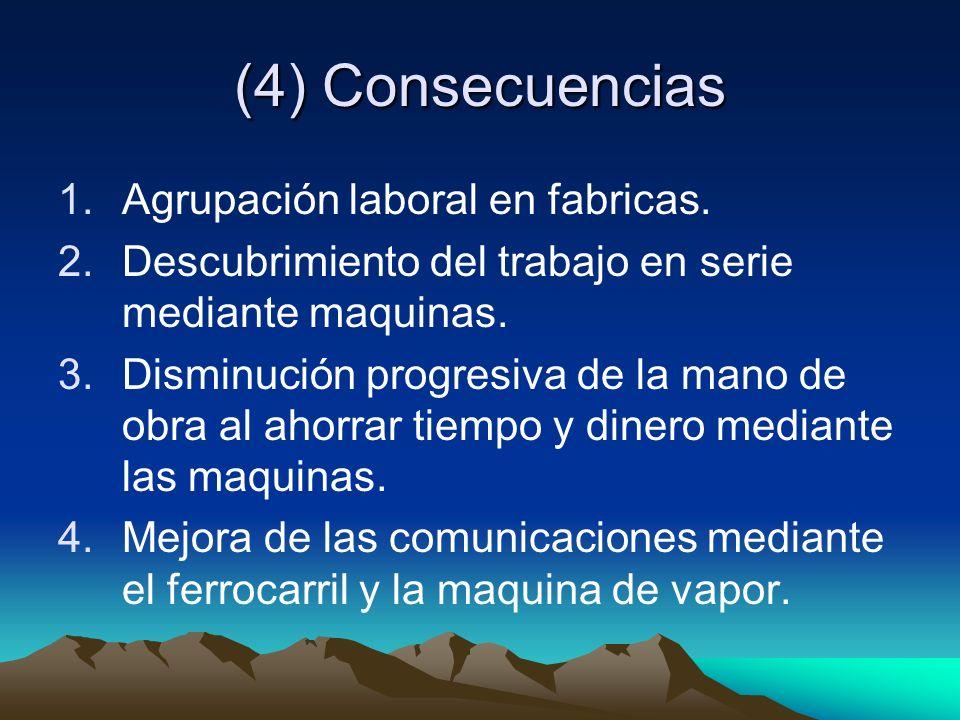 (4) Consecuencias Agrupación laboral en fabricas.