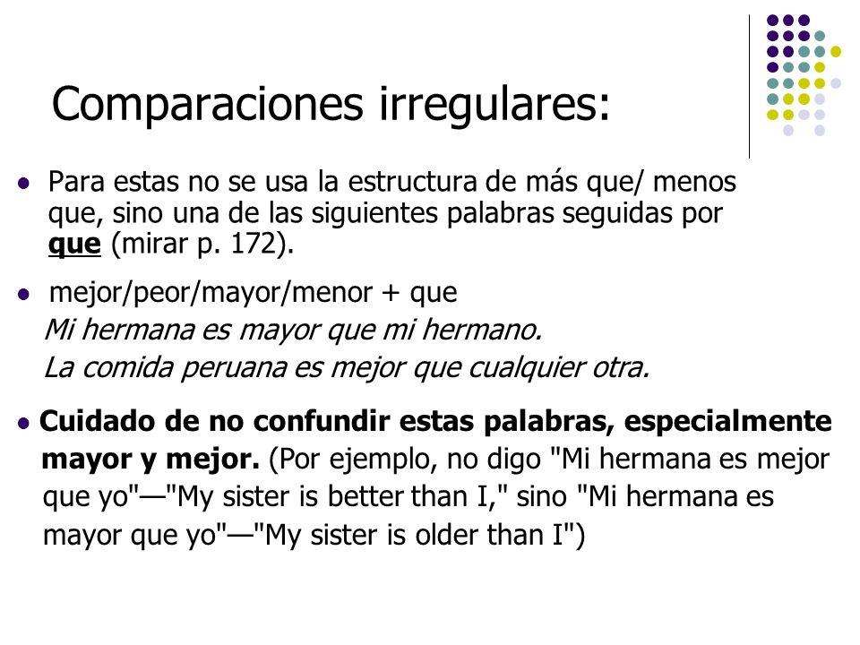 Comparaciones irregulares: