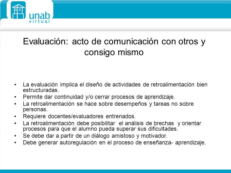 Evaluación: acto de comunicación con otros y consigo mismo
