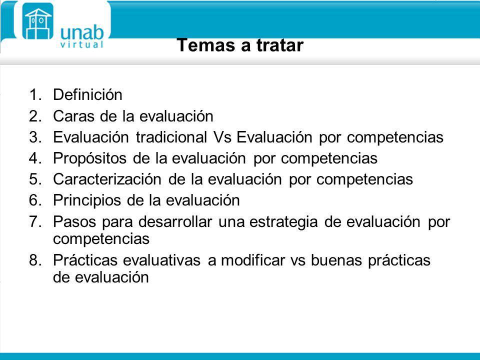 Temas a tratar Definición Caras de la evaluación