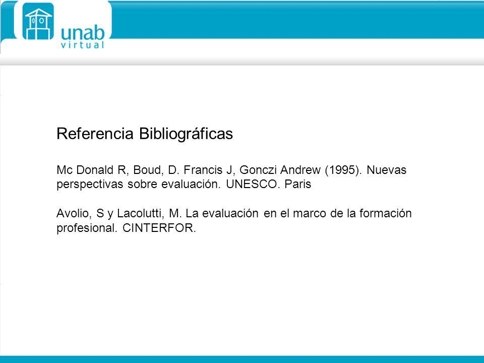 Referencia Bibliográficas Mc Donald R, Boud, D