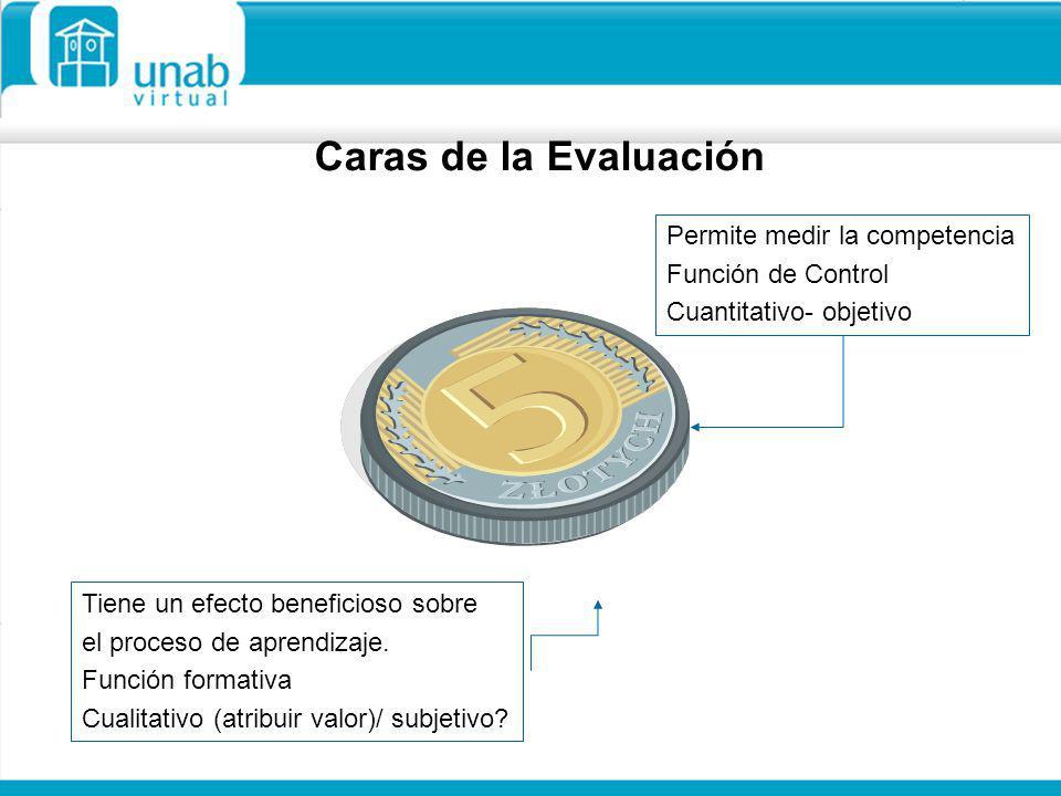 Caras de la Evaluación Permite medir la competencia Función de Control