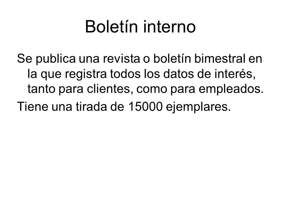 Boletín interno Se publica una revista o boletín bimestral en la que registra todos los datos de interés, tanto para clientes, como para empleados.