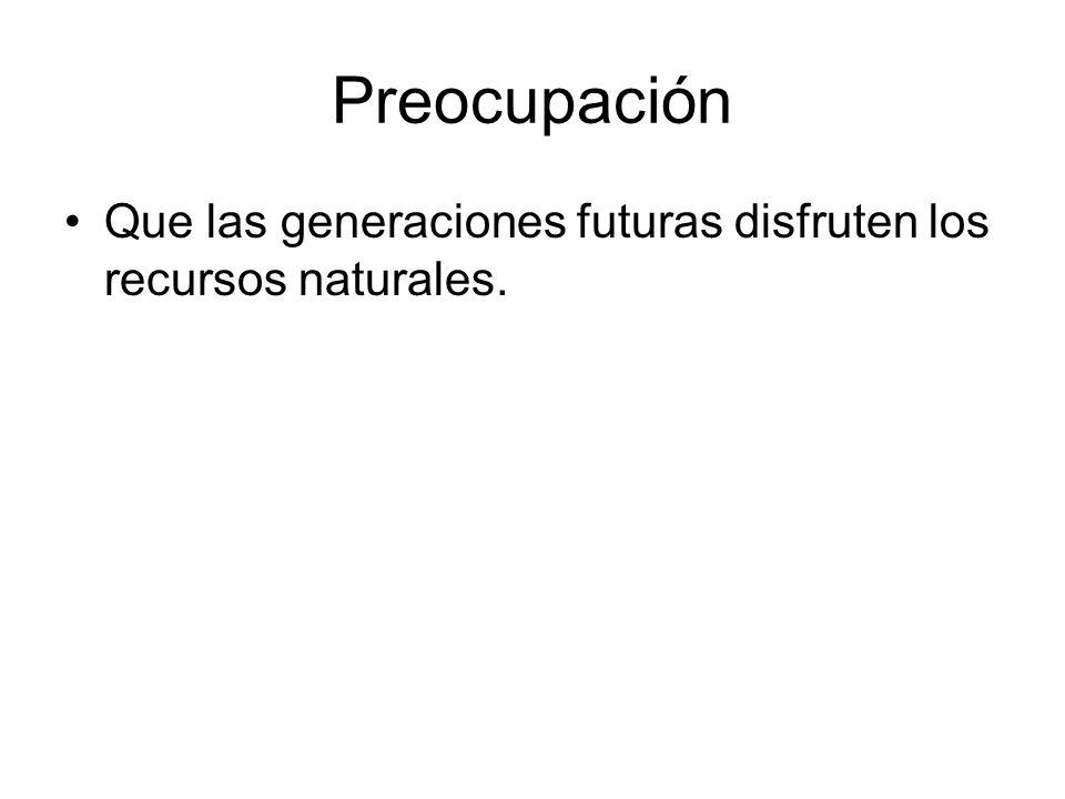 Preocupación Que las generaciones futuras disfruten los recursos naturales.
