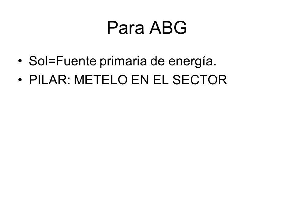 Para ABG Sol=Fuente primaria de energía. PILAR: METELO EN EL SECTOR