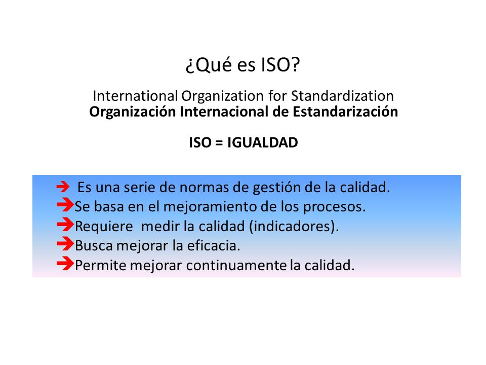 ¿Qué es ISO International Organization for Standardization