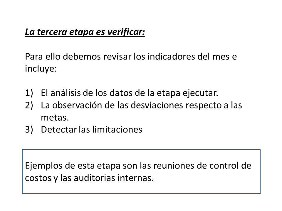 La tercera etapa es verificar: