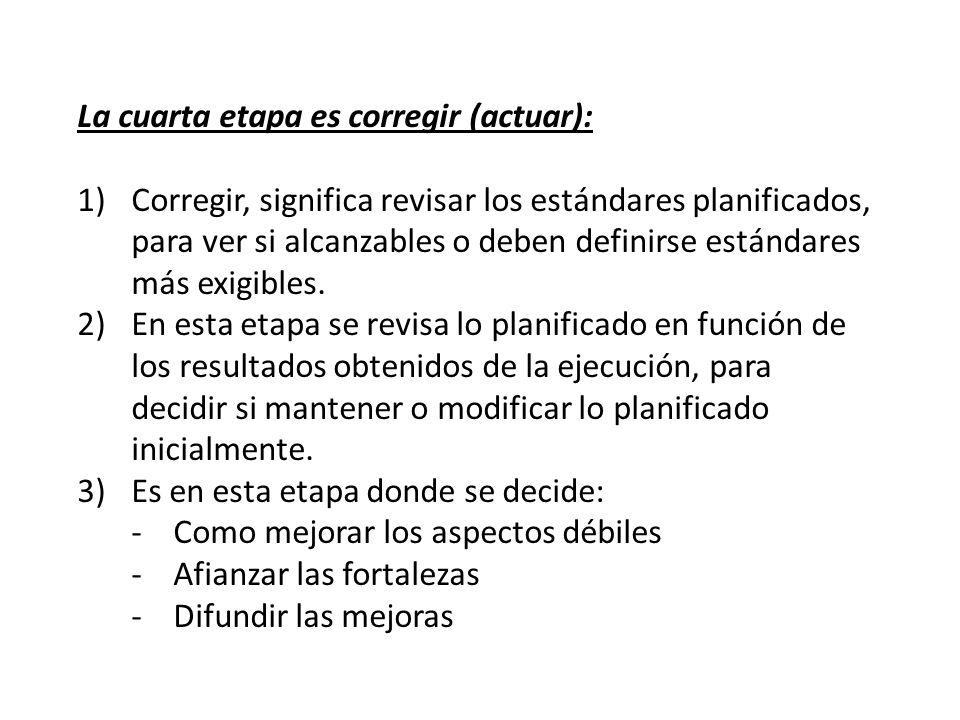 La cuarta etapa es corregir (actuar):