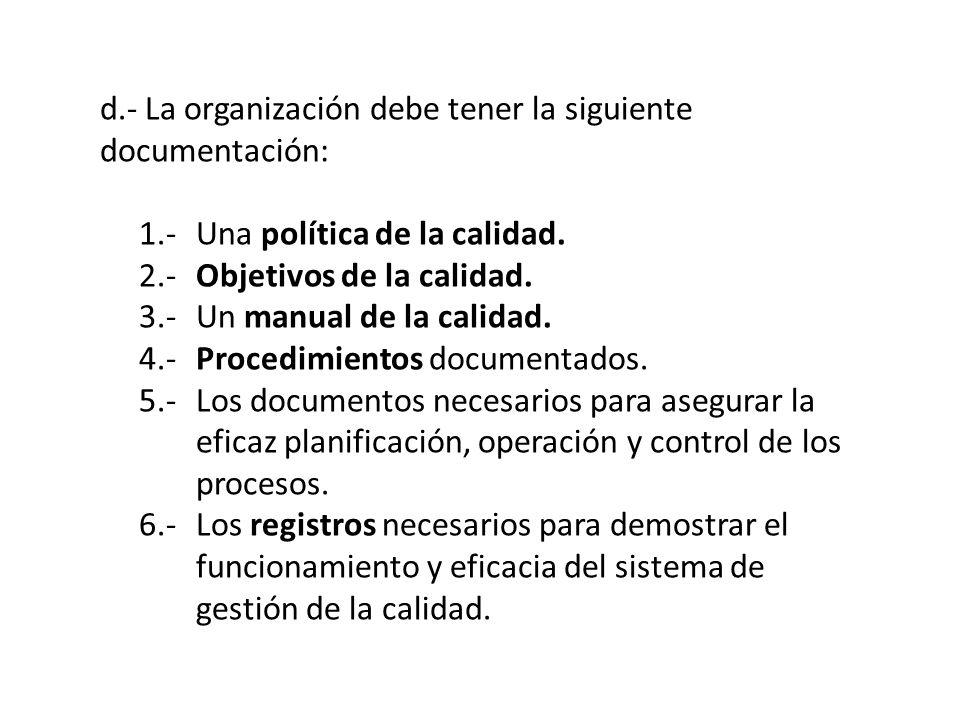 d.- La organización debe tener la siguiente documentación:
