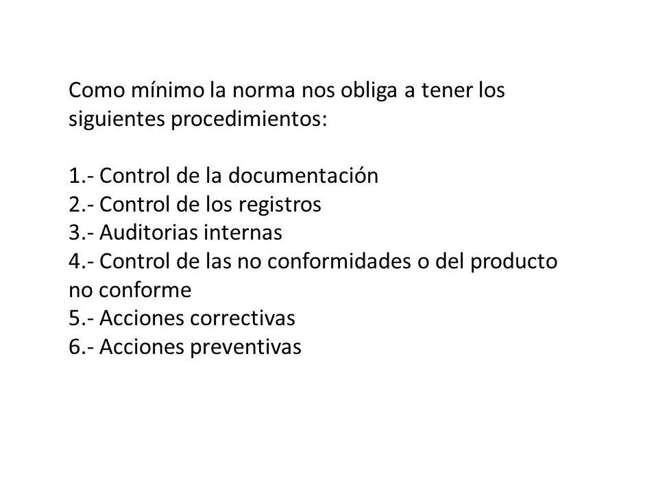 Como mínimo la norma nos obliga a tener los siguientes procedimientos: