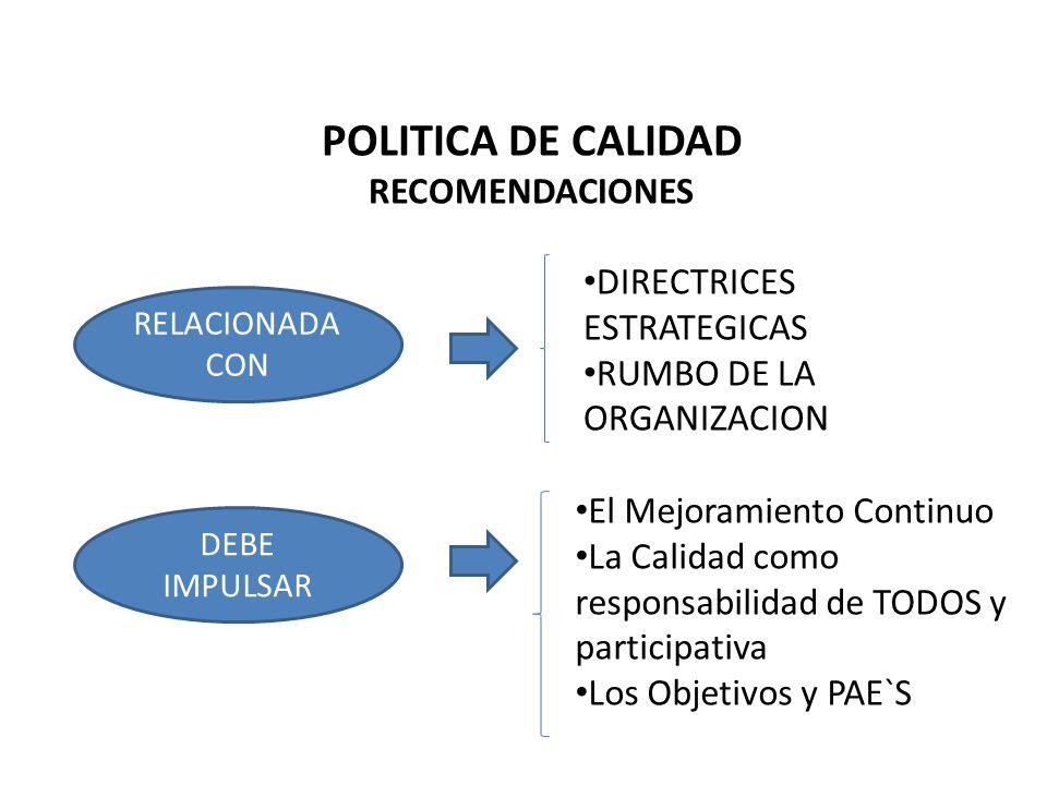 POLITICA DE CALIDAD RECOMENDACIONES DIRECTRICES ESTRATEGICAS