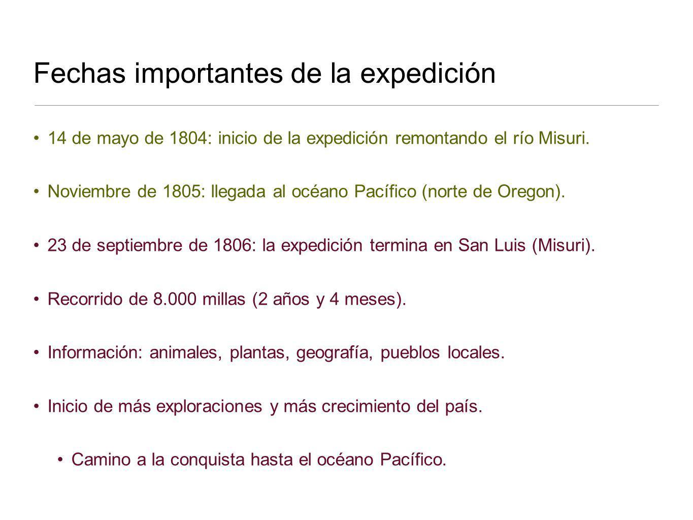 Fechas importantes de la expedición