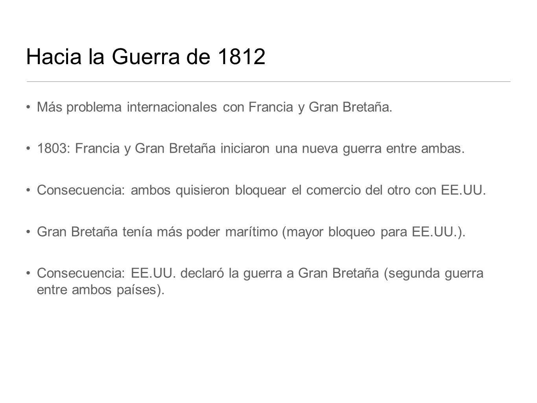 Hacia la Guerra de 1812 Más problema internacionales con Francia y Gran Bretaña.