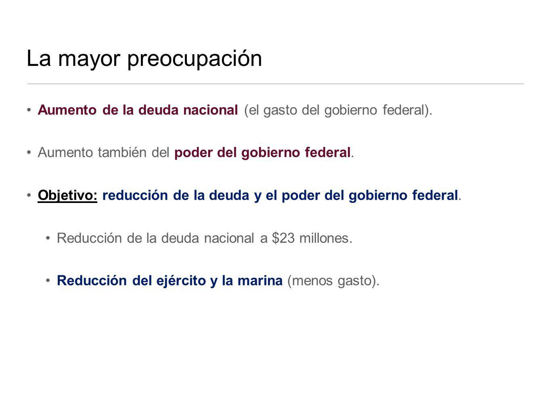 La mayor preocupación Aumento de la deuda nacional (el gasto del gobierno federal). Aumento también del poder del gobierno federal.