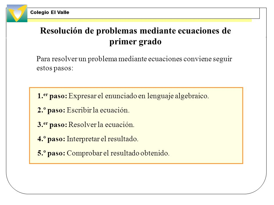 Resolución de problemas mediante ecuaciones de primer grado