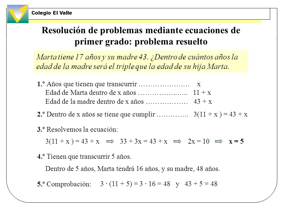 Colegio El Valle Resolución de problemas mediante ecuaciones de primer grado: problema resuelto.