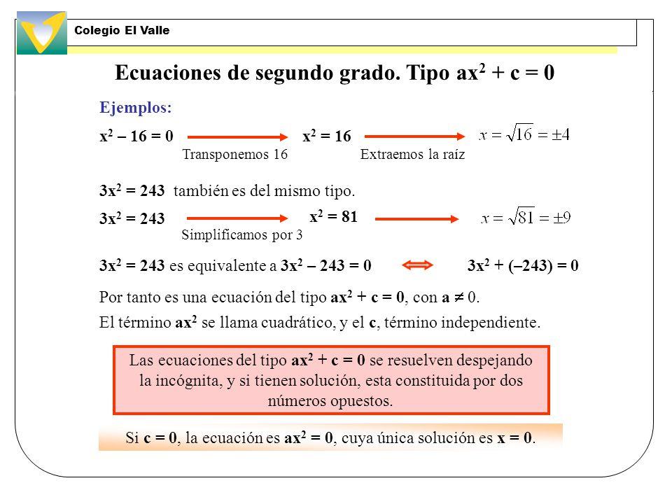 Ecuaciones de segundo grado. Tipo ax2 + c = 0