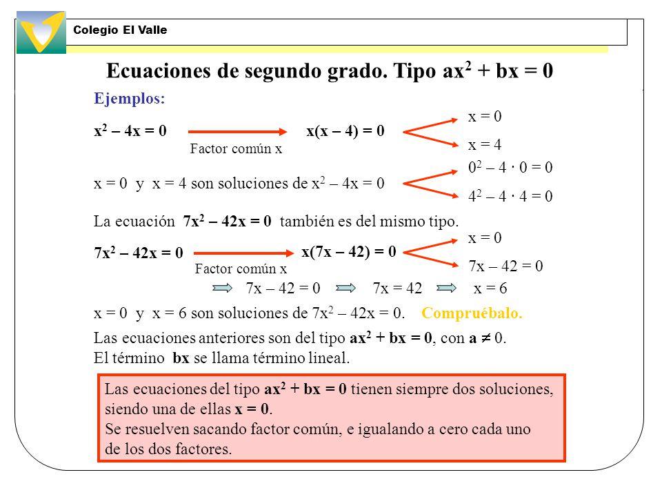 Ecuaciones de segundo grado. Tipo ax2 + bx = 0