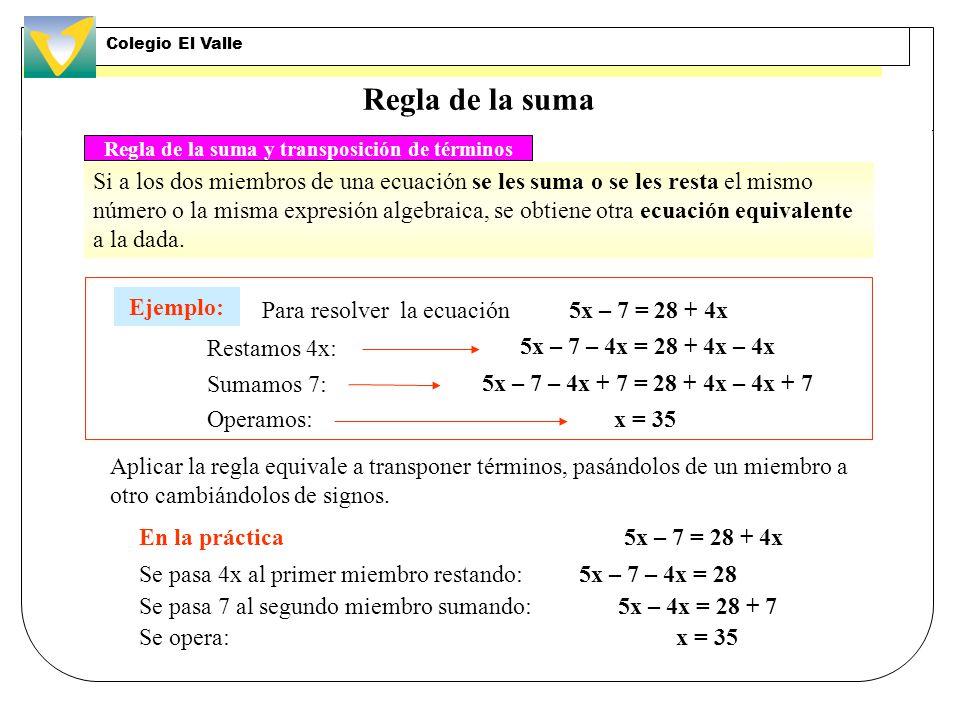 Regla de la suma y transposición de términos