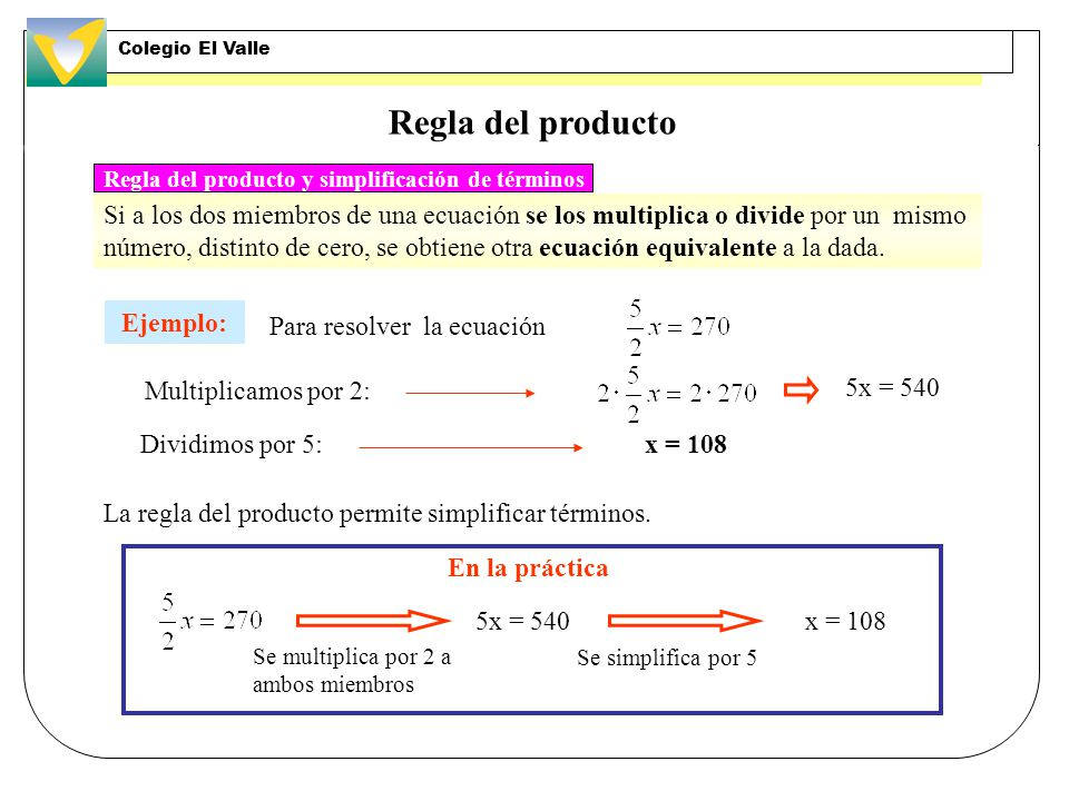 Regla del producto y simplificación de términos