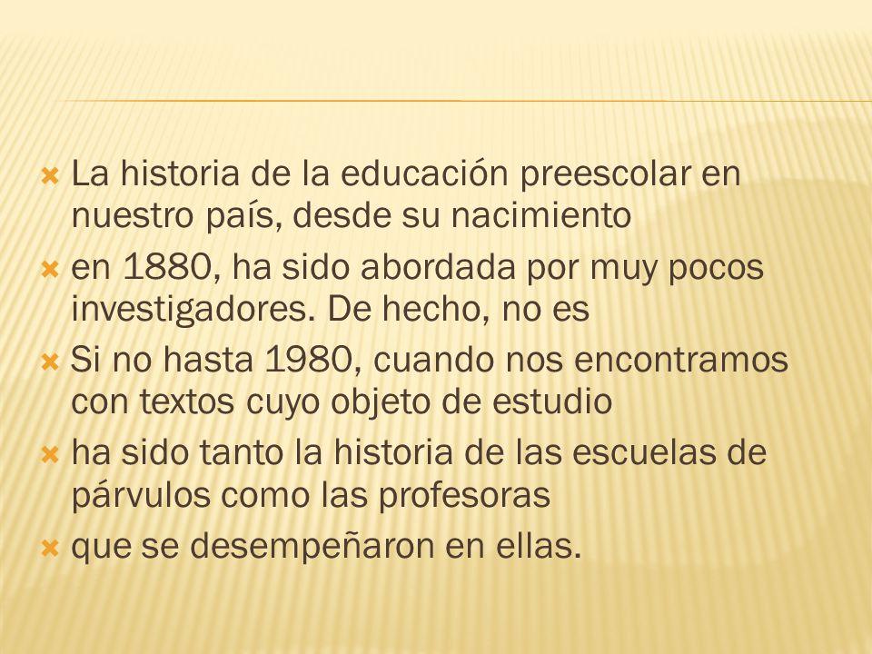 La historia de la educación preescolar en nuestro país, desde su nacimiento
