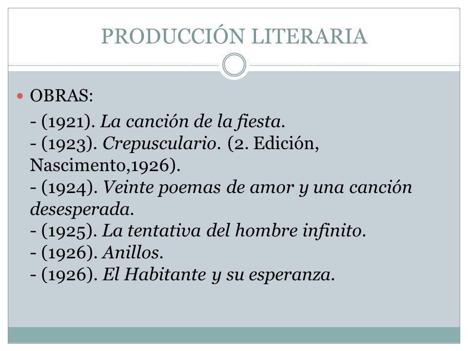 PRODUCCIÓN LITERARIA OBRAS: