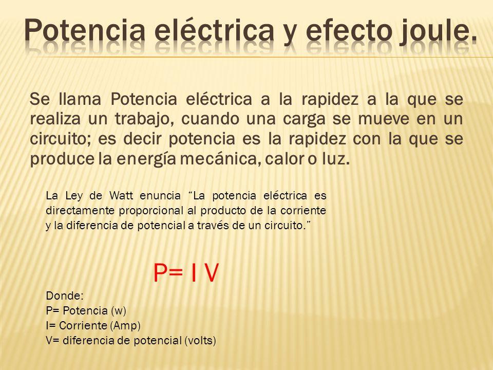 Potencia eléctrica y efecto joule.